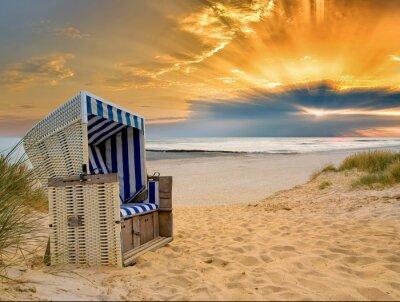 Strandkorb nordsee  Strandkorb nordsee sonnenuntergang leinwandbilder • bilder Texel ...