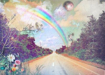 Bild Straße in der Landschaft mit Regenbogen