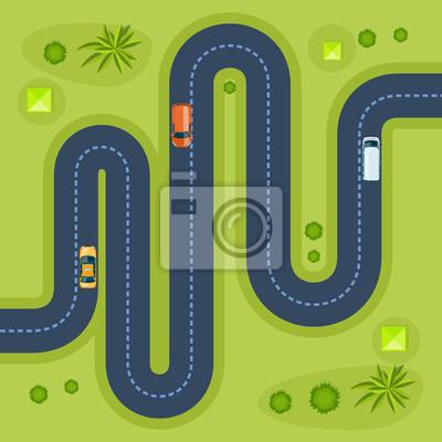 Strasse Mit Autos Bewegliche Autos Auf Strasse Draufsicht