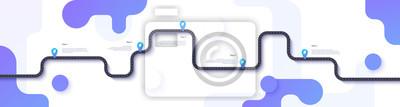 Bild Straßenkarte und Reise Route Infografiken Vorlage. Kurvenreiche Straßenzeitachseillustration. Flache Vektorillustration. Eps 10