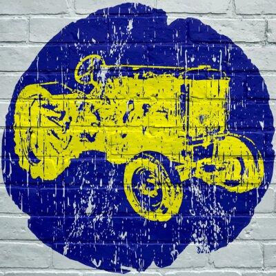 Bild Straßenkunst. Tracteur Agricole Grunge