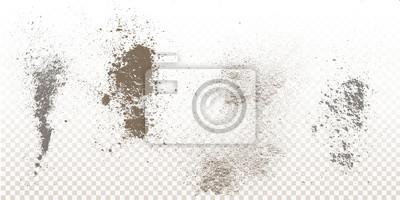 Bild Streupulver fällt, Flecken, Spritzer, Pulver-Explosion. Auf einem isolierten Hintergrund. Grunge Blots Spur und Spray.