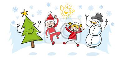 Weihnachten Kinder.Bild Strichfiguren Kinder Weihnachten