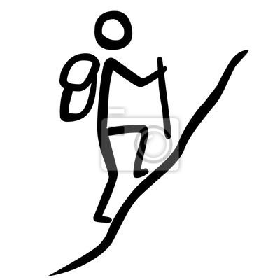 Strichmännchen Bergsteigerer Schwarz Weiß Gezeichnet Vektor