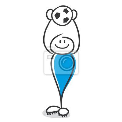 Bild Strichmannchen Serie Blau Fussball