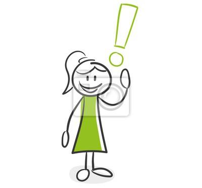 Strichmännchen Serie Grüne Frau Antwort Ausrufezeichen