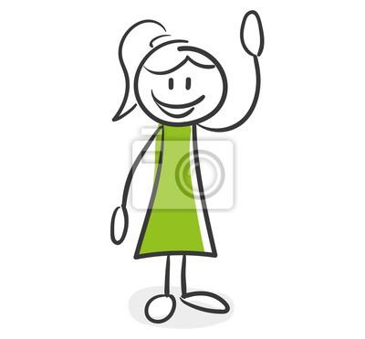 Strichmännchen Serie Grüne Frau Hallo Willkommen Winken