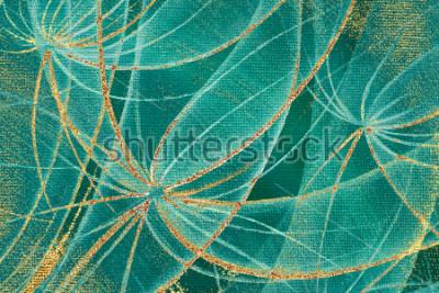 Bild Strukturierter Hintergrundzusammenfassungs-Löwenzahn des Ölgemäldes blüht mit goldenen Streifen und Roststellen auf Segeltuch für Design, Teppich, Tapete, Keramikziegel, Grenzrahmen, Holzverkleidung.