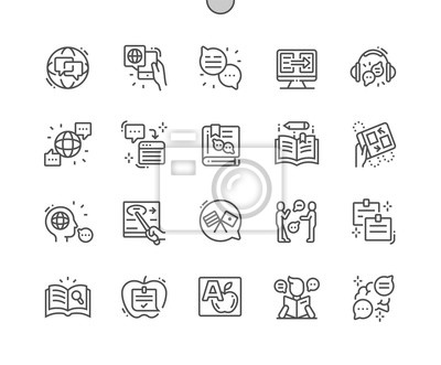 Bild Studying of foreign language Well-crafted Pixel Perfect Vector Thin Line Icons 30 2x Grid for Web Graphics and Apps. Simple Minimal Pictogram
