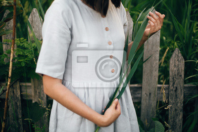 Bild Stylish girl in linen dress holding green leaf at wooden fence and grass. Close Up of boho woman posing with cane branch in summer countryside in evening. Atmospheric moment