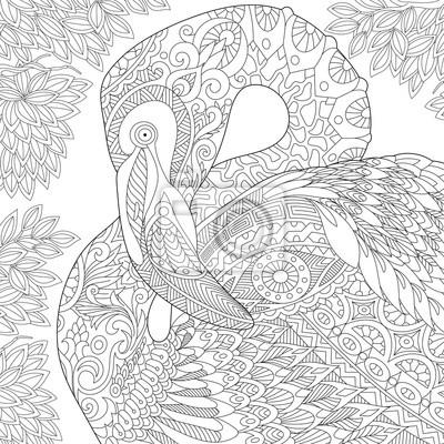 Bild: Stylized flamingo bird among jungle foliage.freehand sketch