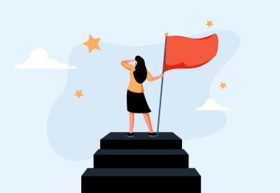 Bild Success female entrepreneur, woman leadership or challenge and achievement concept, success businesswoman on top.