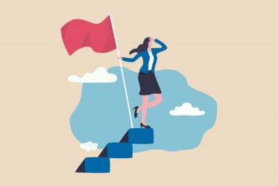 Bild Success female entrepreneur, woman leadership or challenge and achievement concept, success businesswoman on top of career staircase holding winning flag looking for future visionary.