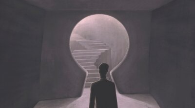 Bild Success hope ambition and dream concept. Surreal artwork. Businessman with a stair in a key hole gate, business background illustration. painting