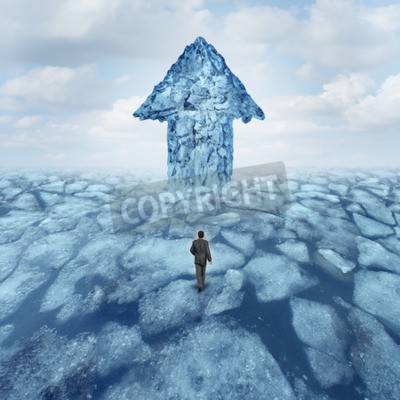 Bild Success journey concept as a businessman walking on broken frozen ice with an iceberg shaped as an arrow as a metaphor for danger risk and opportunity.