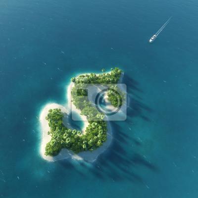 Success Weg. Tropische Insel in Form von Dollar
