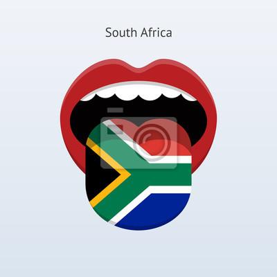 Südafrika Sprache. Abstrakt menschliche Zunge.