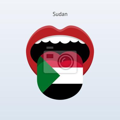 Sudan Sprache. Abstrakt menschliche Zunge.