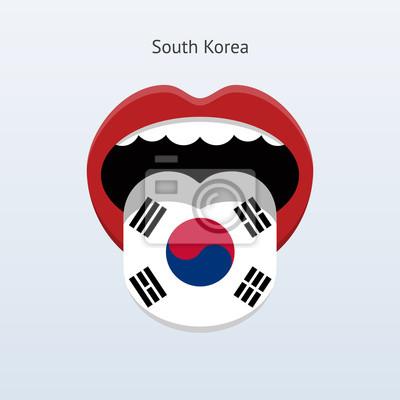 Südkorea Sprache. Abstrakt menschliche Zunge.