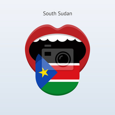 Südsudan Sprache. Abstrakt menschliche Zunge.