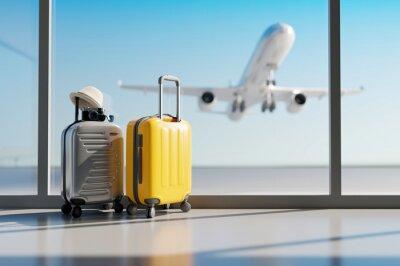 Bild Suitcases in airport. Travel concept. 3d rendering