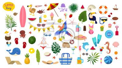 Bild Summer vacation set. Collection of holiday symbol