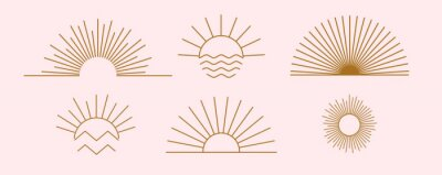 Bild Sun logo design templates. Vector set of linear boho icon and symbols. Minimalistic line art design elements for decorating, social network, and poster. Abstract collection isolated on pink background