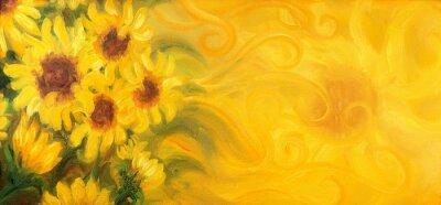 Bild Sunny Sonnenblumen mit Sonne und Ornamente. Ölgemälde auf Leinwand.