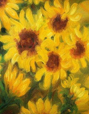 Bild Sunny Sonnenblumen Ölgemälde auf Leinwand.