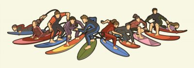 Bild Surfer Action Group of Surfing Sport Man and Woman Players Cartoon Graphic Vector