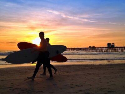 Bild Surfers Sunset Oceanside Pier Beach San Diego Kalifornien USA
