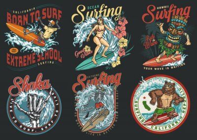Bild Surfing club vintage colorful labels