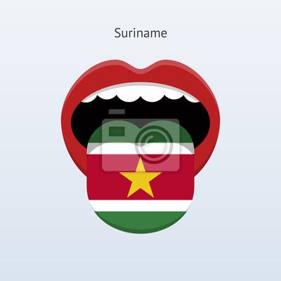 Suriname Sprache. Abstrakt menschliche Zunge.
