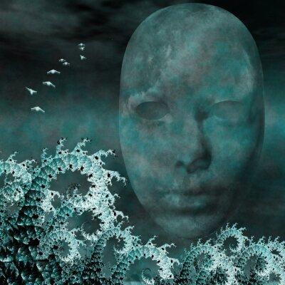 Bild Surreal Mask und Fraktale wie Meereswellen