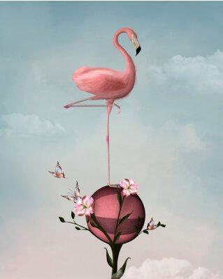 Bild Surreale Zusammensetzung mit Flamingo und Blumen