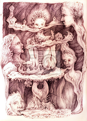 Surrealistic drawing of a young boy in a musical dreamy land