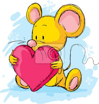 Süße Maus Mit Herz Kissen Leinwandbilder Bilder Ohr Lange