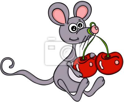 Süße Maus Mit Kirschen Leinwandbilder Bilder Kirschbaum Von Hand