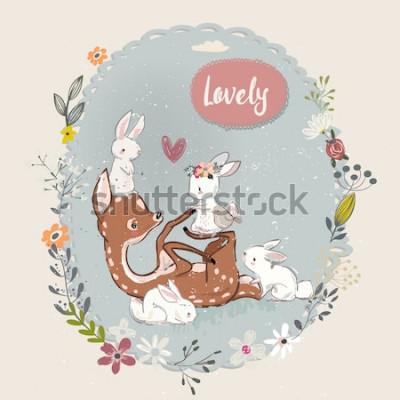 Bild Süße Sommerhirsche mit Hasen