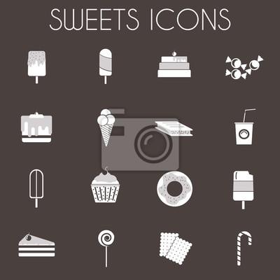 Bild Süßigkeiten Icons Set. Sechzehn leckere Symbole auf dunklem Hintergrund. Eiscreme auf Holzstäbchen, Scheiben Kuchen mit Kirsche an der Spitze. Donuts, kleine Kuchen, Lutscher und Zuckerstange. Digital