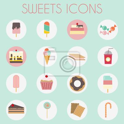 Bild Süßigkeiten Icons Set. Sechzehn leckere Symbole auf kreisförmigen Kulissen. Eiscreme auf Holzstäbchen, Scheiben Kuchen mit Kirsche an der Spitze. Donuts, kleine Kuchen, Lutscher und Zuckerstange. Digi