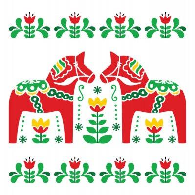 Bild Swedish Dala or Daleclarian horse folk art pattern