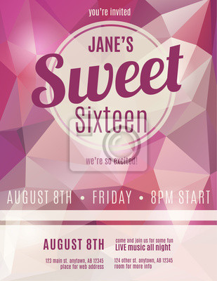 Sweet Sixteen Party Invitation Flyer Template Design Leinwandbilder