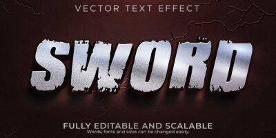 Bild Sword metallic text effect; editable warrior and knight text style
