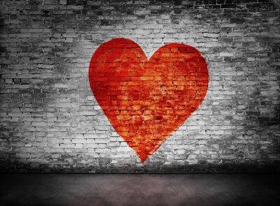 Bild Symbol der Liebe auf dunkle Mauer gemalt