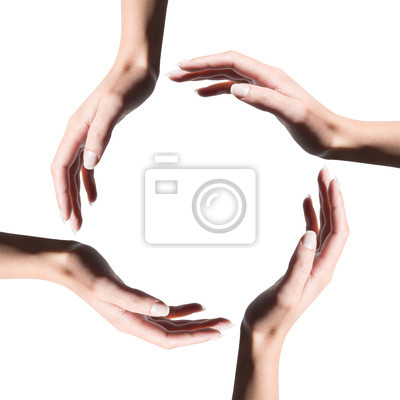 Symbol des Recycling-Symbol mit den Händen der Frau gemacht