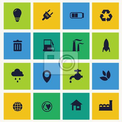 Bild Symbole für grüne Technologie gesetzt.