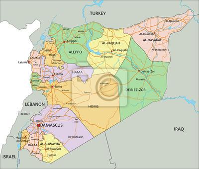 Syrien Karte Mit Städten.Bild Syrien Sehr Detaillierte Bearbeitbare Politische Karte Mit