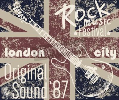 Bild T-Shirt Druck-Design, Typografie Grafiken, London Rock Festival Vektor-Illustration mit Grunge-Flagge und Hand gezeichnet Skizze Gitarre Badge Applique Label.