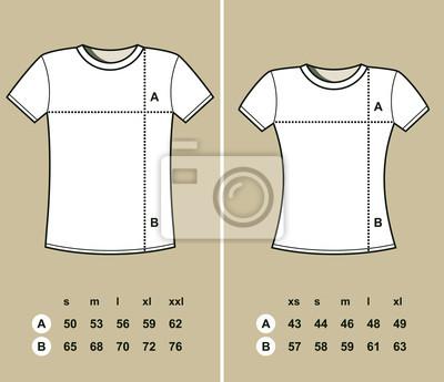 a5af37d582e4a7 T-shirt größen (männer und frauen) leinwandbilder • bilder ...